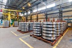 Produzione delle ruote d'acciaio del treno Fotografie Stock Libere da Diritti