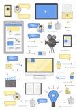 Produzione di concetto creativo di vettore video piana Fotografia Stock
