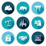 Produzione di petrolio nelle icone artiche messe Illustrazione di vettore Fotografie Stock Libere da Diritti