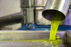 Produzione di petrolio di olio d'oliva vergine fresca ad una fabbrica della freddo-stampa dopo la raccolta verde oliva fotografia stock libera da diritti