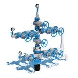 produzione Grey Blue del gas naturale dei montaggi di gas della fontana dell'illustrazione 3d royalty illustrazione gratis