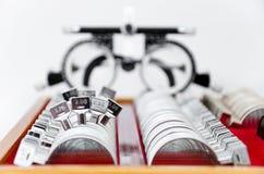 Proef lensuitrusting met proefframe Royalty-vrije Stock Foto