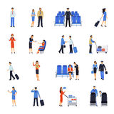 Proefand stewardess flat-Geplaatste Pictogrammen stock illustratie