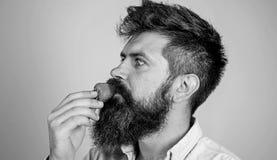 Proeft zo de zomer Aardbei gezonde snack Mensen knappe hipster met lange baard die aardbei eten Bessen royalty-vrije stock afbeeldingen