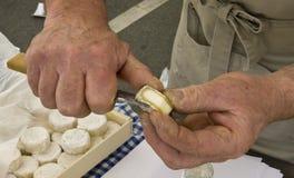 Proevende kaas bij de markt in Frankrijk Stock Afbeelding