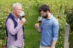 Proevende rode wijn Royalty-vrije Stock Foto