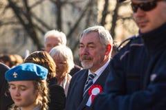 prof Jacek Majchrowski ist Bürgermeister der königlichen Hauptstadt von Krakau, während der Feier des nationalen Unabhängigkeitst Lizenzfreies Stockbild