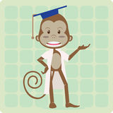 Prof Monkey. Standing monkey with laboratorium suit and phd hat Stock Image