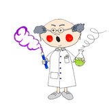 Prof-plof-color. Professor scares from liquid experiment Royalty Free Stock Images