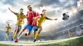 Free Profeccional Soccer Players In Action On The Grand Stadium Background Royalty Free Stock Image - 221473356