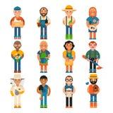 Profesión de la persona de la agricultura del carácter de la gente del trabajador del granjero que cultiva el ejemplo del vector  Foto de archivo libre de regalías