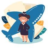 Profesión de los niños azafata, asistente de vuelo imágenes de archivo libres de regalías