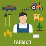 Profesión del granjero e iconos planos de la agricultura Imágenes de archivo libres de regalías
