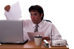 The profesional 2. Young asian businessman working hard Royalty Free Stock Photography