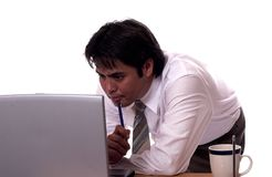 The profesional 3. Young asian businessman working hard Stock Photo