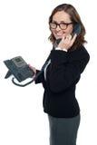 Profesional del asunto en el teléfono Imagenes de archivo