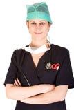 Profesional femenino caucásico joven del cuidado médico Imagen de archivo libre de regalías
