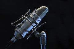 Profesional microphone. Professional microphone on a black background Stock Photos