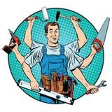 profesional principal Multi-armado de la reparación stock de ilustración