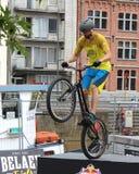 Profesional Trialbiker Stock Photo
