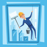 Profesional worker cleaning windows. Cartoon vector illustration Royalty Free Stock Photography