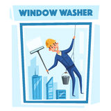 Profesional worker cleaning windows. Cartoon vector illustration. Skyscraper cleaning service. Window washer is cleaning high building. Man with bucket of Stock Image