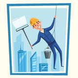 Profesional worker cleaning windows. Cartoon vector illustration. Skyscraper cleaning service. Window washer is cleaning high building. Man with bucket of Royalty Free Stock Photography