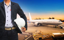 Profesional working man in freight ,cargo air shipping and impor Royalty Free Stock Photo