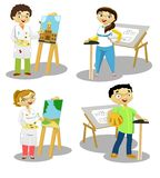 The Profesionals 2. A group of enthusiastic artists and engineers Vector Illustration