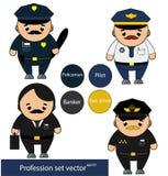 Profesiones fijadas Policía, piloto, banquero, caracteres del taxista en estilo de la historieta Ilustración del vector Foto de archivo