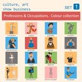 Profesiones y sistema del icono del esquema de los empleos Cultura, arte, demostración Imágenes de archivo libres de regalías