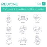Profesiones y sistema del icono del esquema de los empleos Médico Línea plana Fotografía de archivo libre de regalías