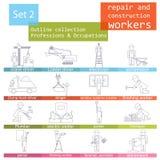 Profesiones y sistema del icono del esquema de los empleos Reparación y constru Imagen de archivo