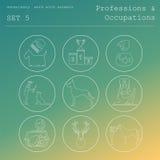 Profesiones y sistema del icono del esquema de los empleos veterinario Fotos de archivo libres de regalías