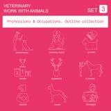 Profesiones y sistema del icono del esquema de los empleos Veterinario, trabajo Fotografía de archivo libre de regalías