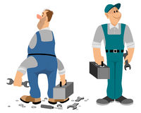 Profesjonalista i noprofessional hydraulik ilustracji