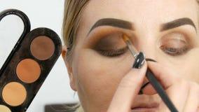 Profesjonalisty makeup mistrzowski artysta stosuje be?ow? eyeshadow palet? z dodatku specjalnego mu?ni?ciem na wzorcowym oku przy zdjęcie wideo