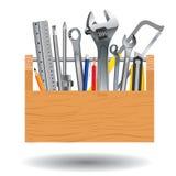 Profesjonalisty narzędzie z drewnianym pudełkiem odizolowywającym na białym tle Fotografia Stock