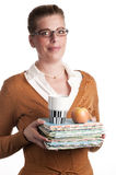Profesor con los libros, el coffe y la manzana fotos de archivo libres de regalías