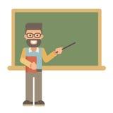 Profesor con un libro y un indicador cerca de una pizarra stock de ilustración