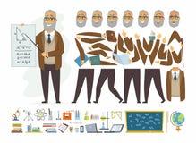 Profesor - constructor del carácter de la gente de la historieta del vector ilustración del vector