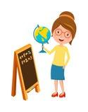 Profesor de escuela primario feliz con vector de la historieta de la mano y de la pizarra del globo stock de ilustración