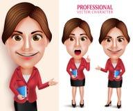 Profesor de escuela profesional Vector Character Smiling que sostiene los libros Imagenes de archivo