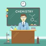 Profesor de la química en sala de clase Fondo plano de la educación del vector Fotografía de archivo libre de regalías