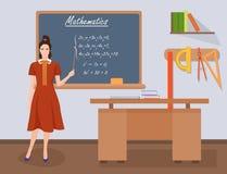 Profesor de sexo femenino de las matemáticas de la escuela en concepto de la clase de la audiencia Ilustración del vector Imagen de archivo libre de regalías