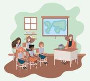 Profesor de sexo femenino en la clase de la geografía con los estudiantes ilustración del vector