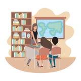 Profesor de sexo femenino en la sala de clase con los estudiantes stock de ilustración