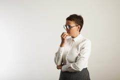 Profesor de sexo femenino frustrado en ropa conservadora Foto de archivo