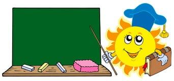 Profesor de Sun con la pizarra Fotos de archivo