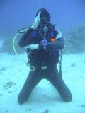 Profesor del buceo con escafandra Fotos de archivo